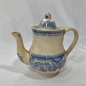 Antique Ironstone Blue Transferware teapot